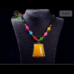 Jewelry - Jade Beads Gold Plated Amber Beeswax Necklace